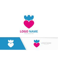 heart and castle logo combination unique vector image