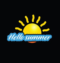 Hello summer with sun vector