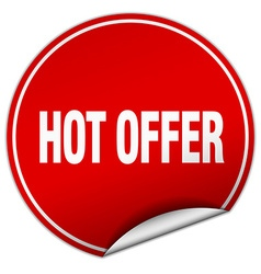 Hot offer round red sticker isolated on white vector