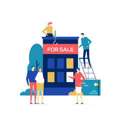 House for sale - colorful flat design style vector