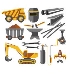 iron ore mining equipment and tools metal products vector image