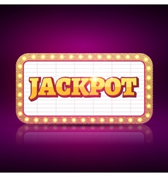 Jackpot banner symbol Casino game neon sign of vector