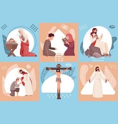 Jesus compositions set vector