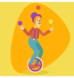 Juggler man on retro old unicycle cartoon vector
