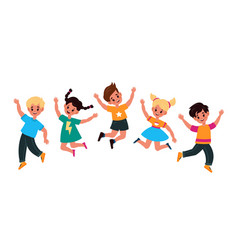 kids jumping happy smiling children play and vector image
