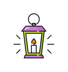 lantern with burning candle retro magic lighting vector image