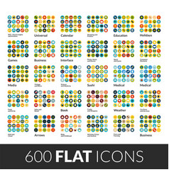 Large icons set 600 flat color pictograph vector