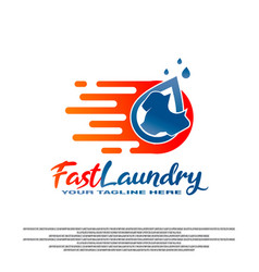 Laundry logo design with fast clothes wash vector