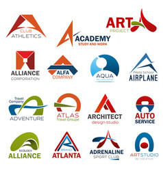 Letter a corporate brand identity icons vector