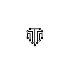 letter t for technology logo design concept vector image