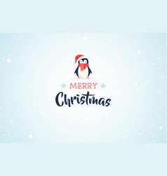 merry christmas banner with cute penguin vector image