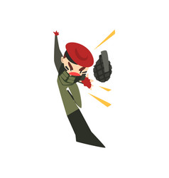 Military man throwing a grenade soldier character vector