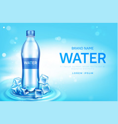 Mineral water bottle with ice cubes promo poster vector
