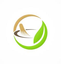 mortar traditional medicine organic logo vector image