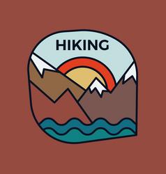 Mountain hiking logo emblem template adventure vector