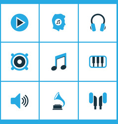 Music colored icons set collection of volume vector