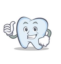okay tooth character cartoon style vector image