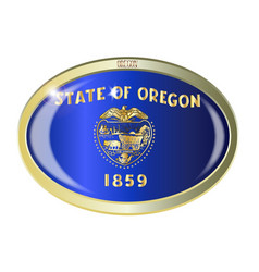 Oregon state flag oval button vector