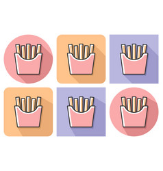 outlined icon of french fries with parallel and vector image