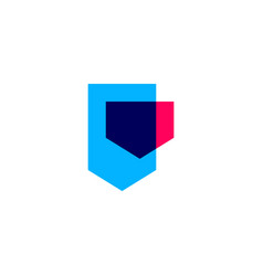 overlapping geometric shield logo icon vector image