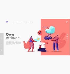 Own attitude landing page template society vector