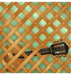 Pattern with crossed planks and guitar vector