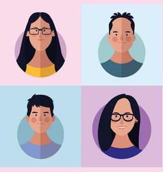 people faces cartoon vector image