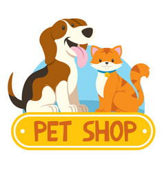 petshop design with cat and dog vector image