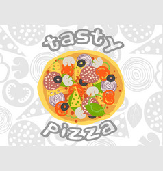 Pizza top view on white ingredients background vector