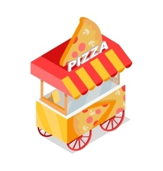 Pizza Trolley Store Isometric Icon vector image