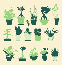 Plant silhouette collection vector image