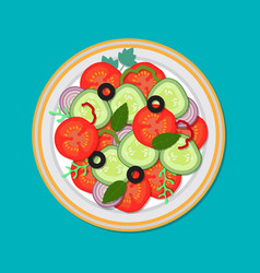 plate with salad top view vector image