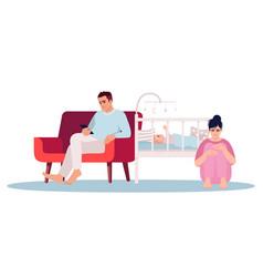 Postpartum depression semi flat rgb color vector