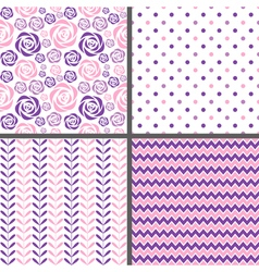 Purple and pink seamless patterns vector image