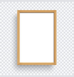 rectangle wooden frame isolated on transparent vector image