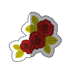 Red oval roses with leaves icon vector