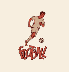 retro football player in sports uniform run with vector image
