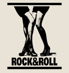 rock roll hand drawn of girl in swimsuit made in vector image