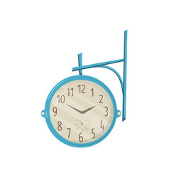 round retro street clock with blue frame hanging vector image