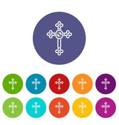 Royal crown icons set flat vector