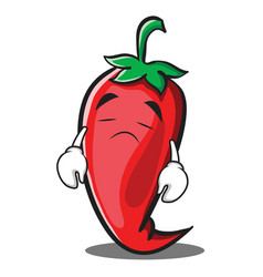 sad red chili character cartoon vector image vector image