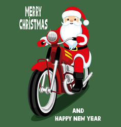 santa claus on a red motorcycle vector image