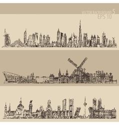 Set Dubai Madrid Amsterdam Vintage Engraved Sketch vector