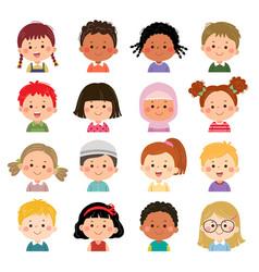 Set kids faces avatars children heads vector