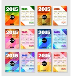 Set of 2015 calendar template brochure geometric vector image
