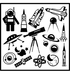 Set of black space icons vector image