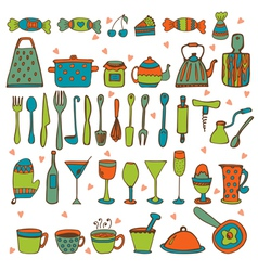 Set of hand drawn kitchen equipments vector image