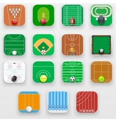 Set of Square icons with sports field end vector image