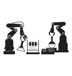 silhouette industrial robotic arm chemical test vector image
