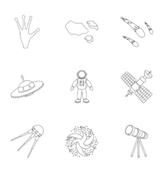 Space set icons in outline style Big collection vector